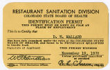 Colorado State Board of Health, Restaurant Sanitation Division. Identification Permit.