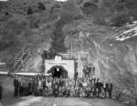 Carlton Tunnel - Xmas party - miners at portal