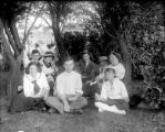 Group having a picnic in park