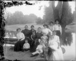 Group of women and children posed by the South Platte