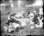 Large group having a picnic
