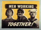 "Poster ""Men working together"""