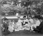 Recreation picnic group in a park