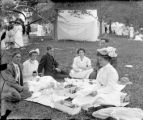 Recreation - picnic - three couples in park