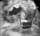Baby in carriage covered by parasol