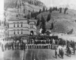 Ouray's centennial, presentation of flag by P. O. S. of A. to the public school