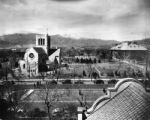 Shove Memorial Chapel, Colo. College, Colo. Springs Campus scene with Pikes Peak in the middle...