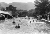 Frolicking in the natural hot spring swimming pool at Glenwood Springs in the early days