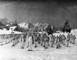 Skitroops on parade at Paradise Lodge, Washington