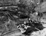 Tank destroyer advances along a mountain road, Italy