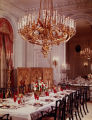 Main dining room, chandelier of gold on bronze