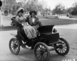 Battery powered car - early 1900's with Mrs. Charles C. Gates and friend