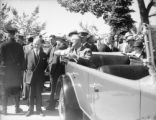 President Franklin D. Roosevelt making a speech from his car