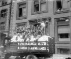 "Truck load of snow with ""bathing beauties"" - some type of promotion for the Merchants..."