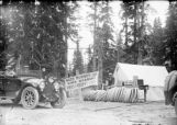 """Boss Rubber Co."" tire station with News-Times press car during one of Pike's Peak early..."