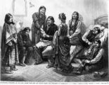 Illustrated interview of our lady artist with the Ute Indian Chiefs and prisoners in Washington,...