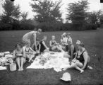 Swimmers picnicking