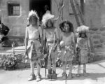 Group of Tesuque Indians (children) as buffalo dancers