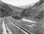 Eagle River Canyon view looking west or north - Gilman, Colorado town and mine complex in top...