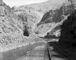 Eagle River Canyon view looking west on westbound main line - eastbound main to right - Belden...