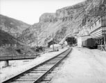 Eagle River Canyon Belden Mine complex view looking west or north on westbound main track...