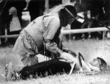 Chief Andrew Fools Crow performs piercing rites on Ed McGaa - Oglala Sioux