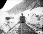 D&RG 203, NG 2-8-0, at Snowslide Tunnel, MP 492 1/2, above Elk Park Colorado on the Silverton...