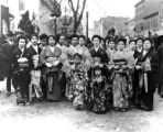 Group of Japanese women and young girls