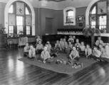 Youngest group of boys in dormitory Clayton school