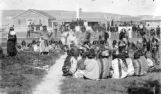 Shoshone war dance in front of adjutants office at Ft. Washakie