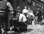 First evacuee arrivals at Granada