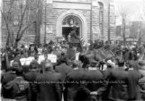 Showing coffins of victims in front of Catholic church, Trinidad, Colo.