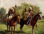 Waiting, two mounted Sioux