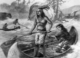 Washington Territory- Indians catching white-fish among the rapids of the Columbia River