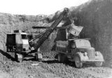 View of 5/8 cubic yard shovel working in open pit