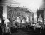 Drawing room is 40 ft. long in center hangs a rare Gobelin tapestry