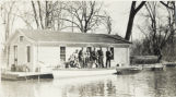 Group on Ferrand's houseboat