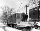 [Four] 4-motor snow plow for the Denver Tramway Corp. by North Div. car barn on Cathness [sic] Pl