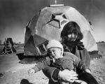"""Mrs. Oleo Margarine"" with daughter ""Melissa"" behind them is a geodesic dome..."
