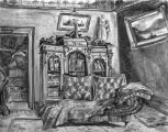 Drawing of a room interior