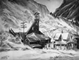 Drawing of mining buildings