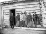 Sitting Bull's family, his two wives and daughters, with D. F. Barry, full length