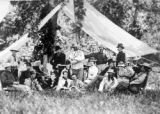 The Custer Clan, a hunting party in 1875, seated under tent