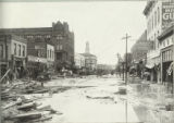 Looking south along Union Avenue, Pueblo white building with tower is new City Hall on bank of...