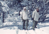 "Two skitroopers in ""whites"" at Cooper Hill, Camp Hale, Colorado"