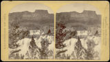 Shoshone Falls, Snake River, Idaho looking though the timber, and showing the main fall, and upper...