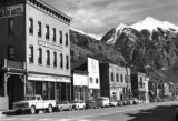 Telluride, Colorado, The New Sheridan Hotel, and other buildings on the north side of the main...