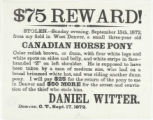 $75 reward! : stolen -- Sunday evening, September 15th, 1872 ... Canadian horse pony.