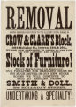 Removal : having removed our stock to the elegant store rooms in Crow & Clark's Block ......
