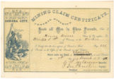 Mining claim certificate : know all men by these presents, that I, Henry Moore claim ... on the...
